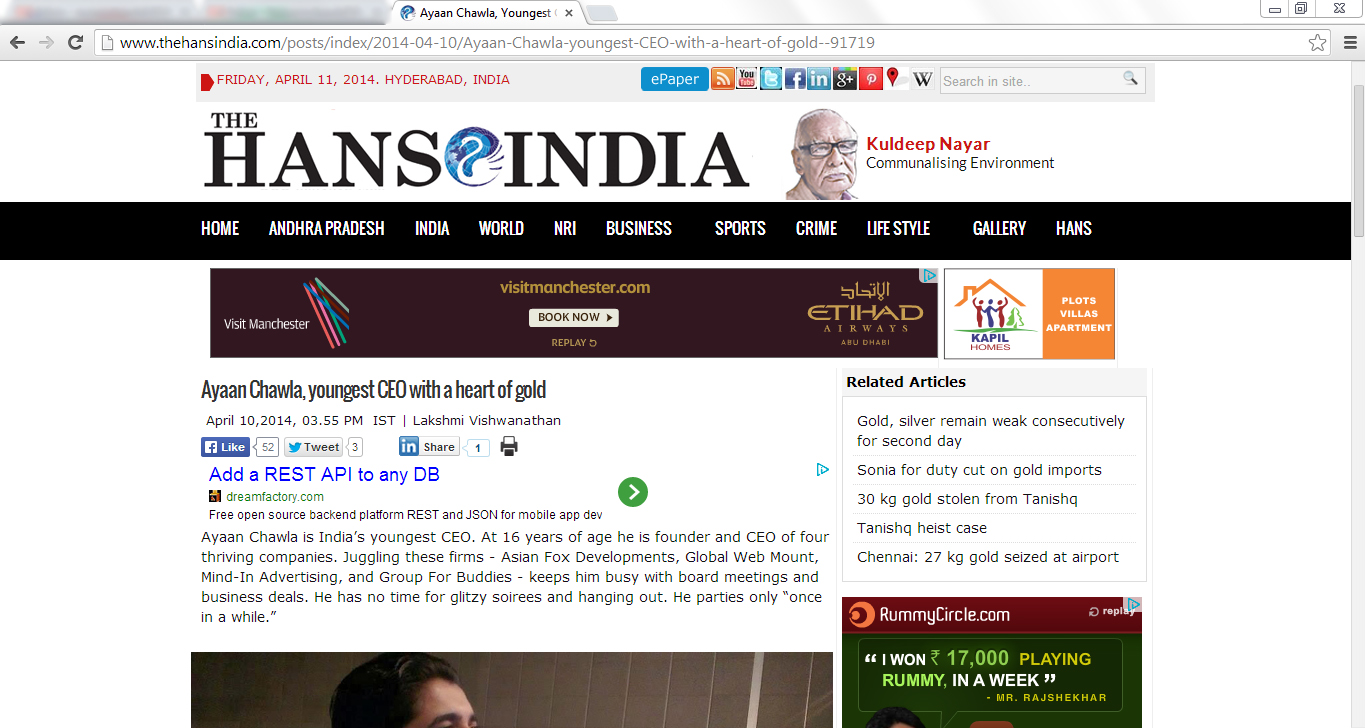 Ayaan Chawla-Article-The-Hans-India-4
