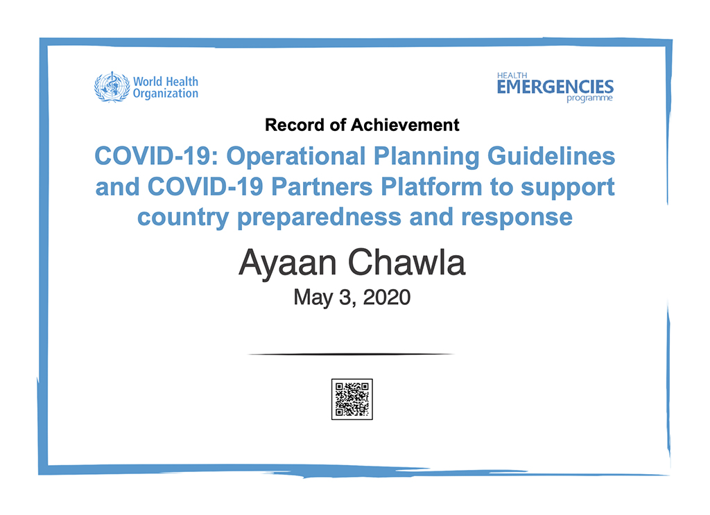 Ayaan Chawla-WHO-COVID19-preparedness-and-response-EN_Record-Of-Achievement